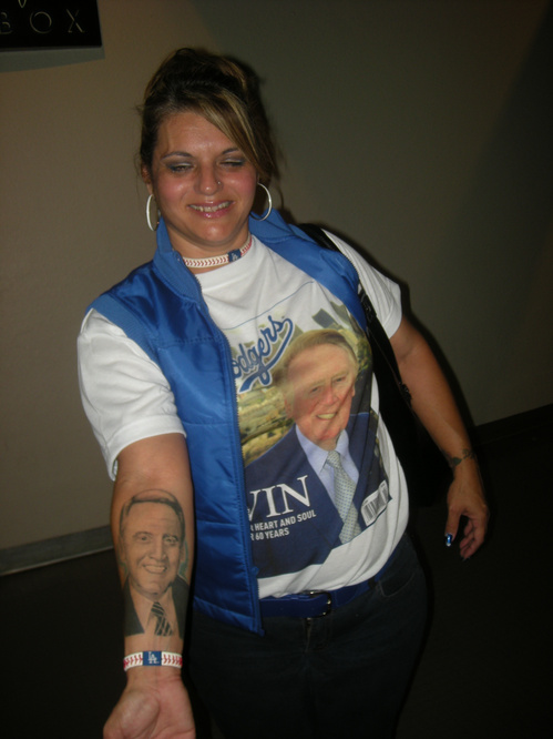 Dee with her Vin Scully tatoo.jpg