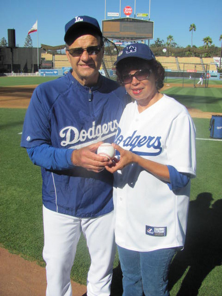 Joe Torre Handing me the Sandy Koufax baseball. pg