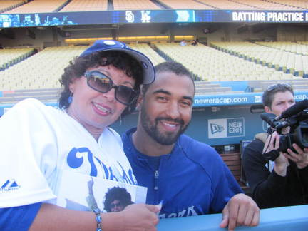 Emma on the field with Matt Kemp .jpg