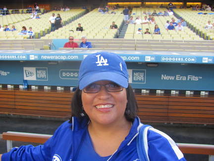 Lorena at Dodger Stadium batting practice.jpg