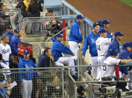 Dodger dugout during Giant game